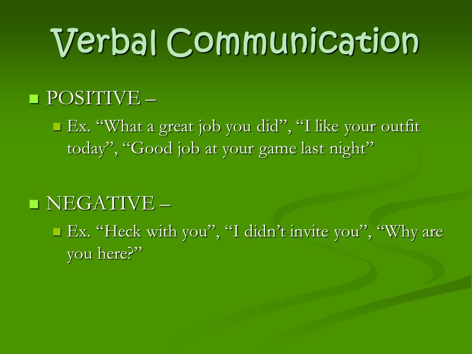 Verbal Communication POSITIVE – POSITIVE – Ex.