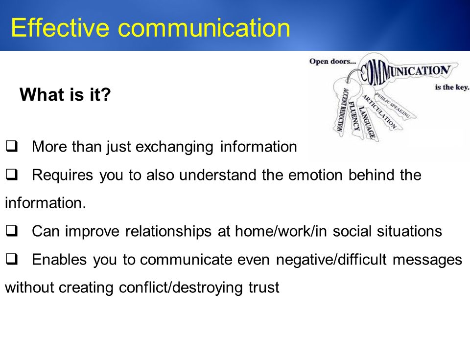 Medic-Unity ® Effective communication 23 What is it.