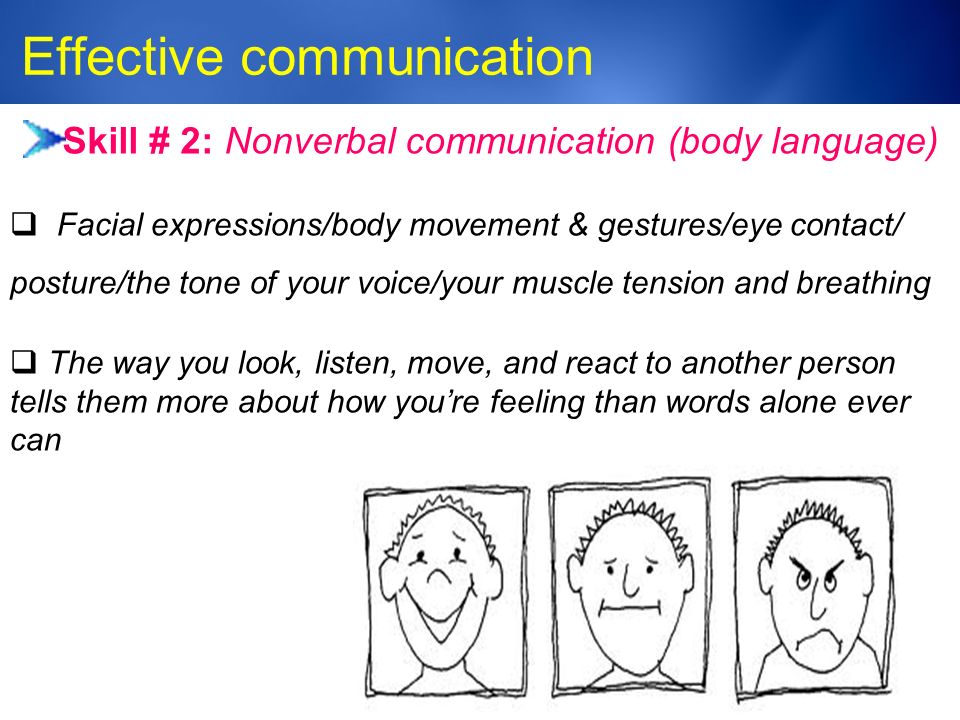 Medic-Unity ® Effective communication 23 Skill # 2: Nonverbal communication (body language)  Facial expressions/body movement & gestures/eye contact/ posture/the tone of your voice/your muscle tension and breathing  The way you look, listen, move, and react to another person tells them more about how you're feeling than words alone ever can