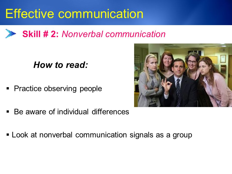 Medic-Unity ® Effective communication 23 Skill # 2: Nonverbal communication  Practice observing people  Be aware of individual differences How to read:  Look at nonverbal communication signals as a group