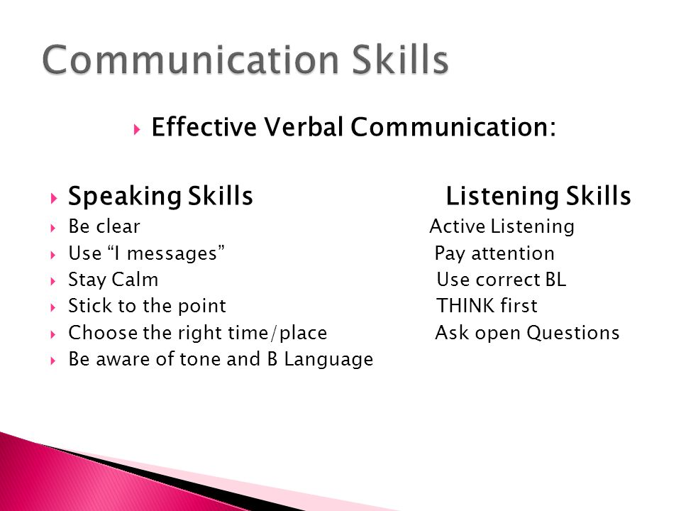  Effective Verbal Communication:  Speaking Skills Listening Skills  Be clear Active Listening  Use I messages Pay attention  Stay Calm Use correct BL  Stick to the point THINK first  Choose the right time/place Ask open Questions  Be aware of tone and B Language
