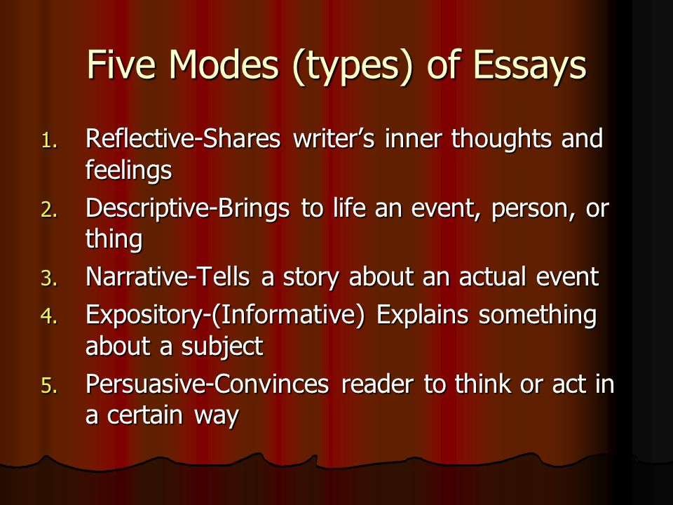Five Modes (types) of Essays 1. R eflective-Shares writer's inner thoughts and feelings 2.