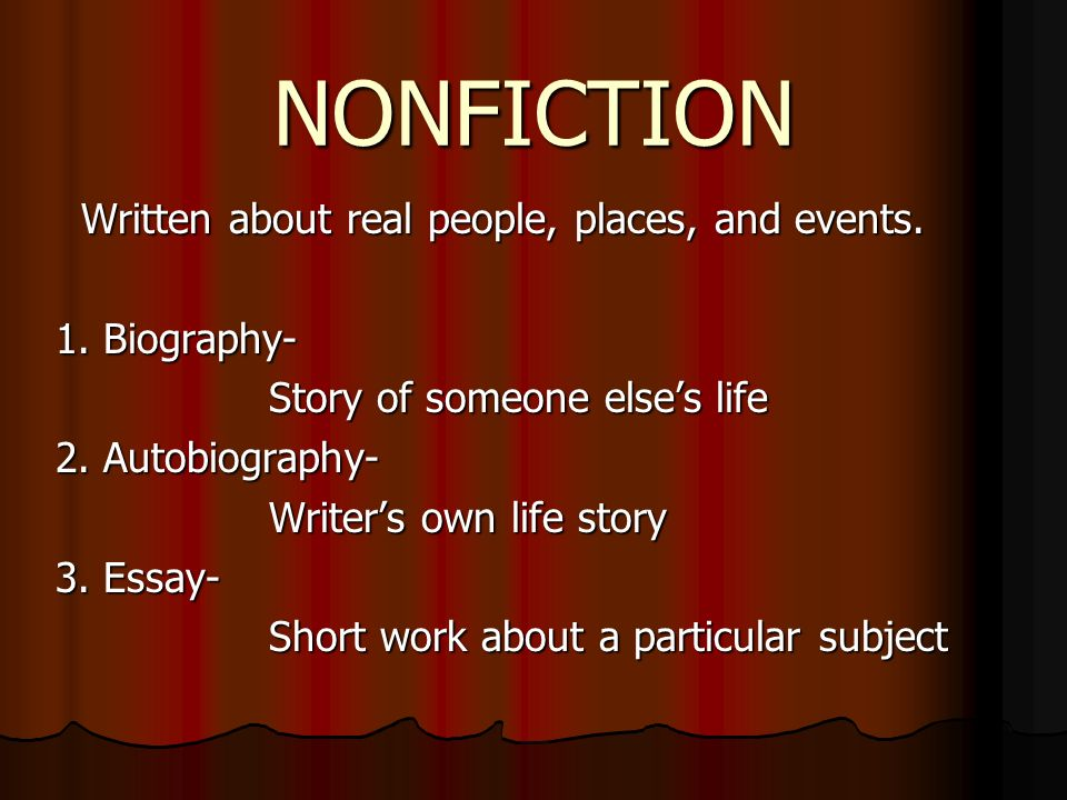 NONFICTION Written about real people, places, and events.