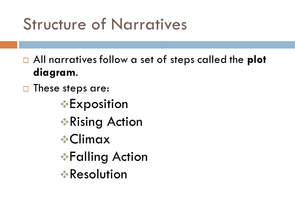 Structure of Narratives  All narratives follow a set of steps called the plot diagram.