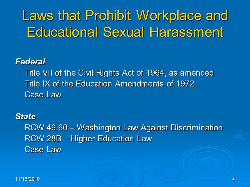 Sexual harassment law title vii cases