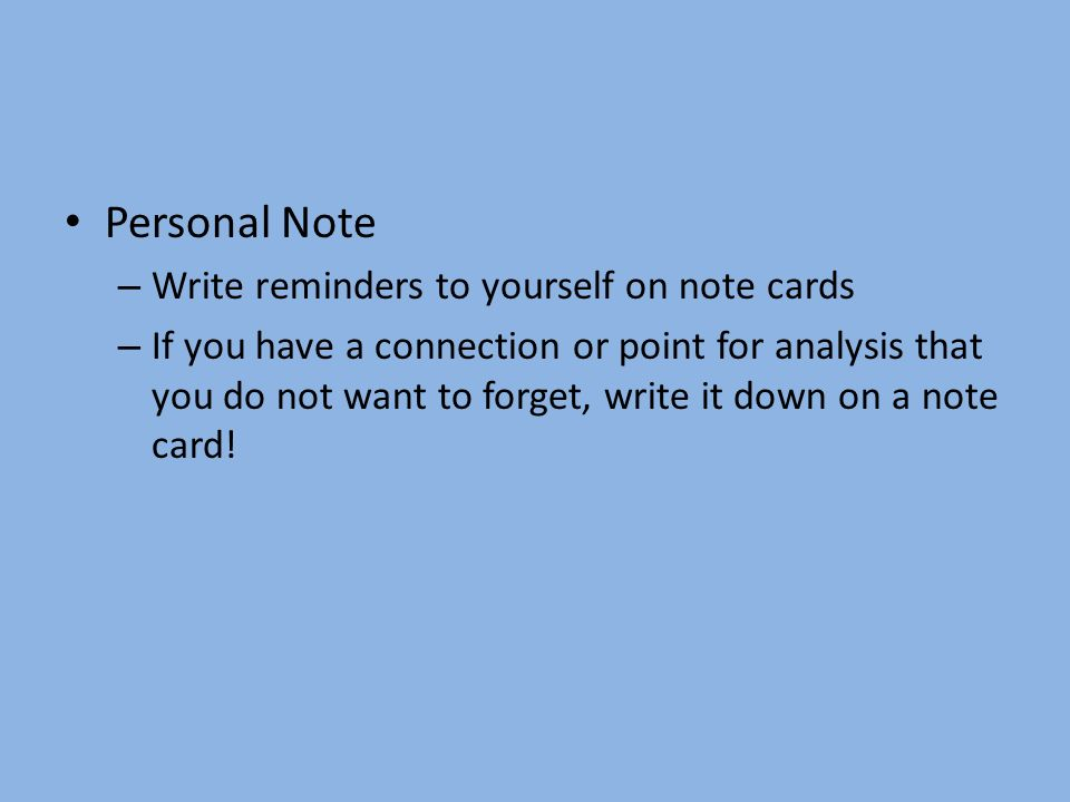 note card method for research for each source you will have a