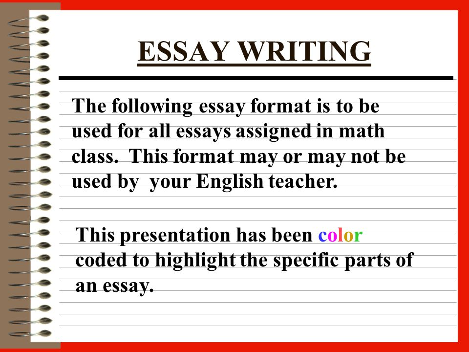 Thesis Statement Argumentative Essay  Writing An Essay Format To Be Used For All Assigned Essays In Math Class  Hit The Back Arrow At Any Time To End The Presentation Buy Essay Papers also How To Write An Essay In High School Writing An Essay Format To Be Used For All Assigned Essays In Math  Essay Thesis Statement