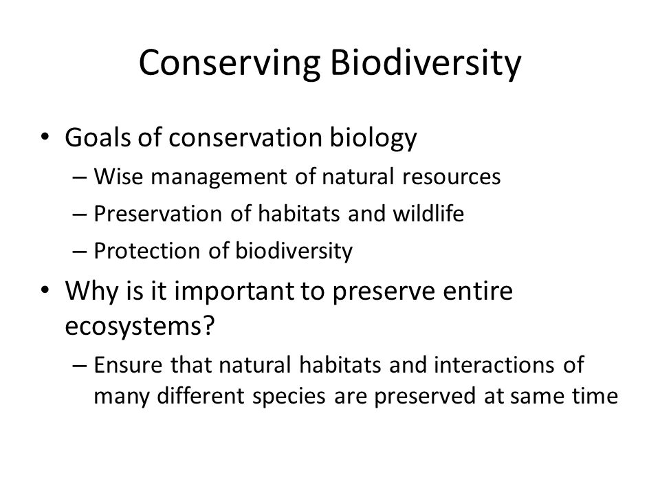Conserving Biodiversity Goals of conservation biology – Wise management of natural resources – Preservation of habitats and wildlife – Protection of biodiversity Why is it important to preserve entire ecosystems.