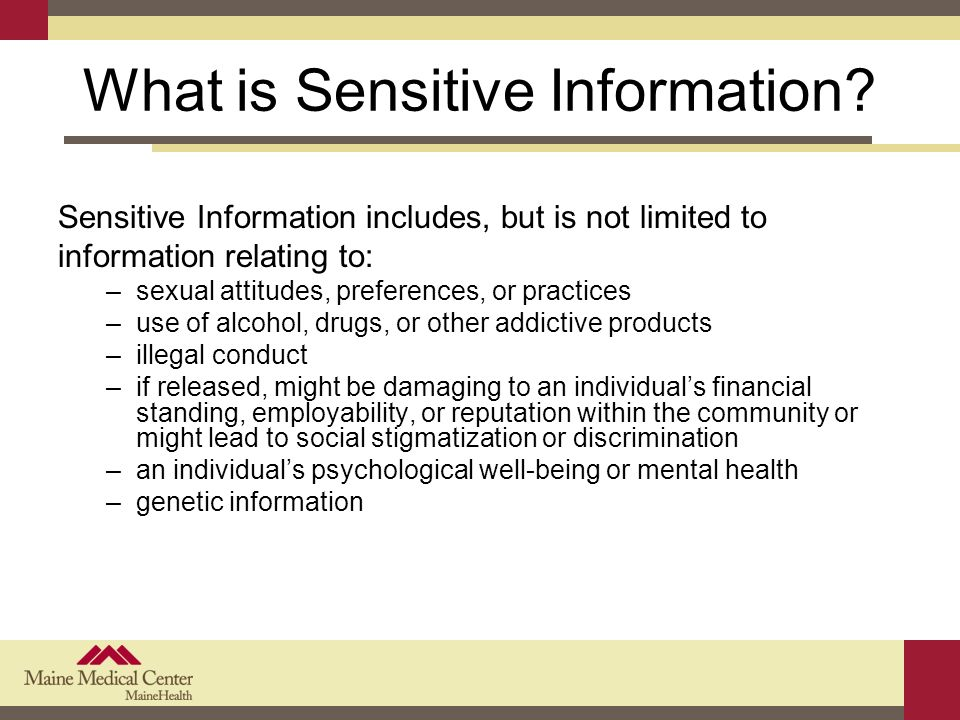 What is Sensitive Information.