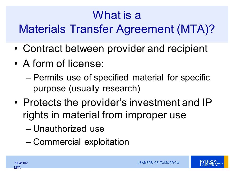 Mta Sharing Research Materials In Academia Aka Everything You Could
