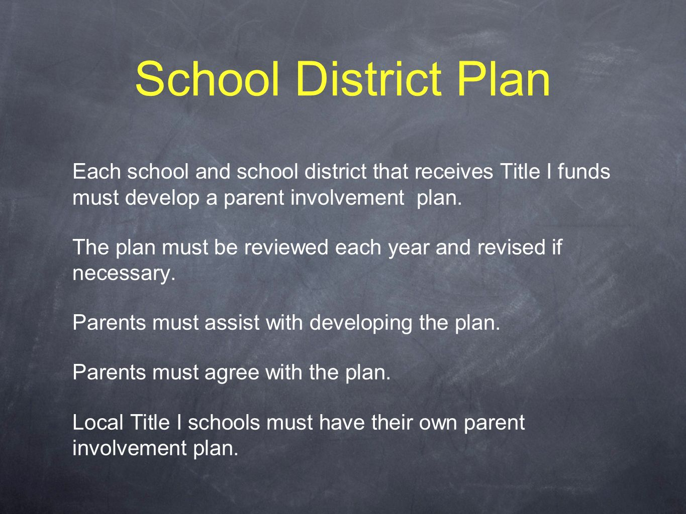 School District Plan Each school and school district that receives Title I funds must develop a parent involvement plan.