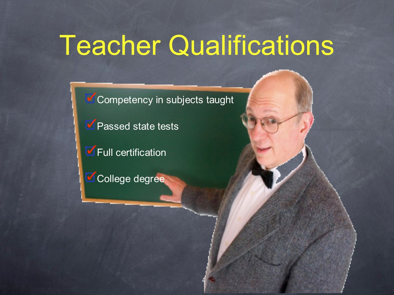 Teacher Qualifications Competency in subjects taught Passed state tests Full certification College degree