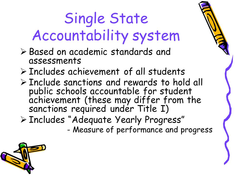 Single State Accountability system  Based on academic standards and assessments  Includes achievement of all students  Include sanctions and rewards to hold all public schools accountable for student achievement (these may differ from the sanctions required under Title I)  Includes Adequate Yearly Progress - Measure of performance and progress