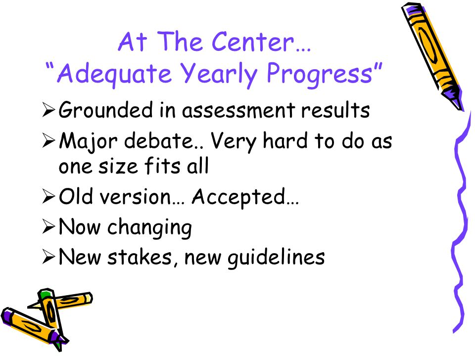 At The Center… Adequate Yearly Progress  Grounded in assessment results  Major debate..