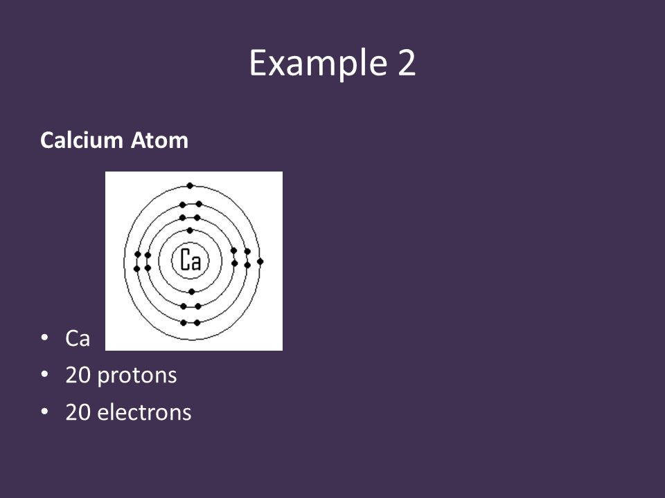 Example 2 Calcium Atom Ca 20 protons 20 electrons