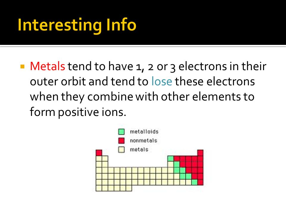  Metals tend to have 1, 2 or 3 electrons in their outer orbit and tend to lose these electrons when they combine with other elements to form positive ions.