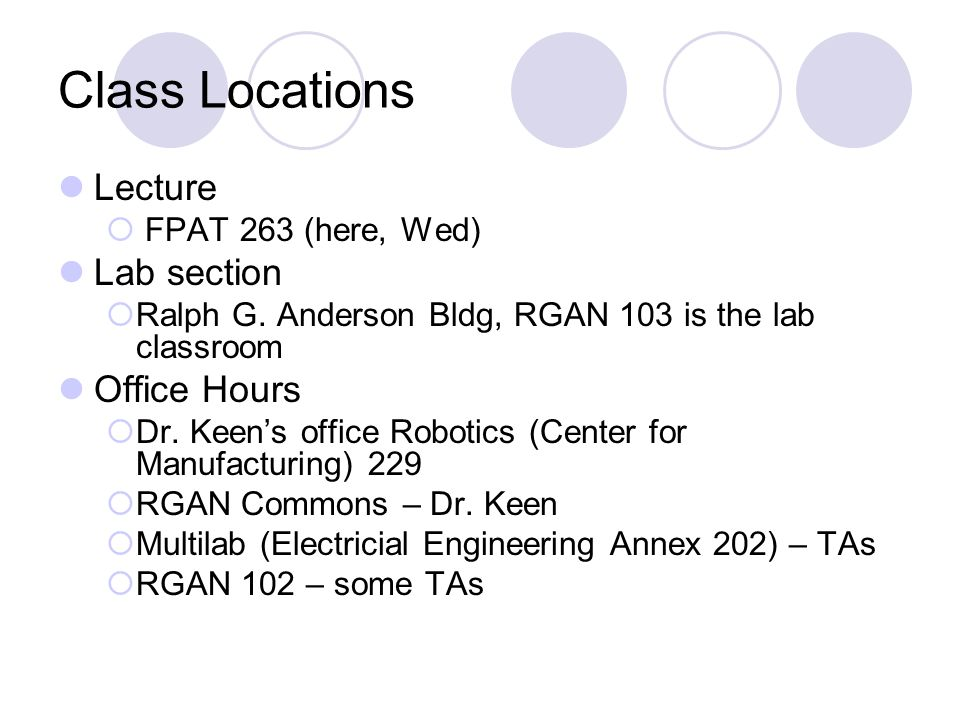 Class Locations Lecture  FPAT 263 (here, Wed) Lab section  Ralph G.