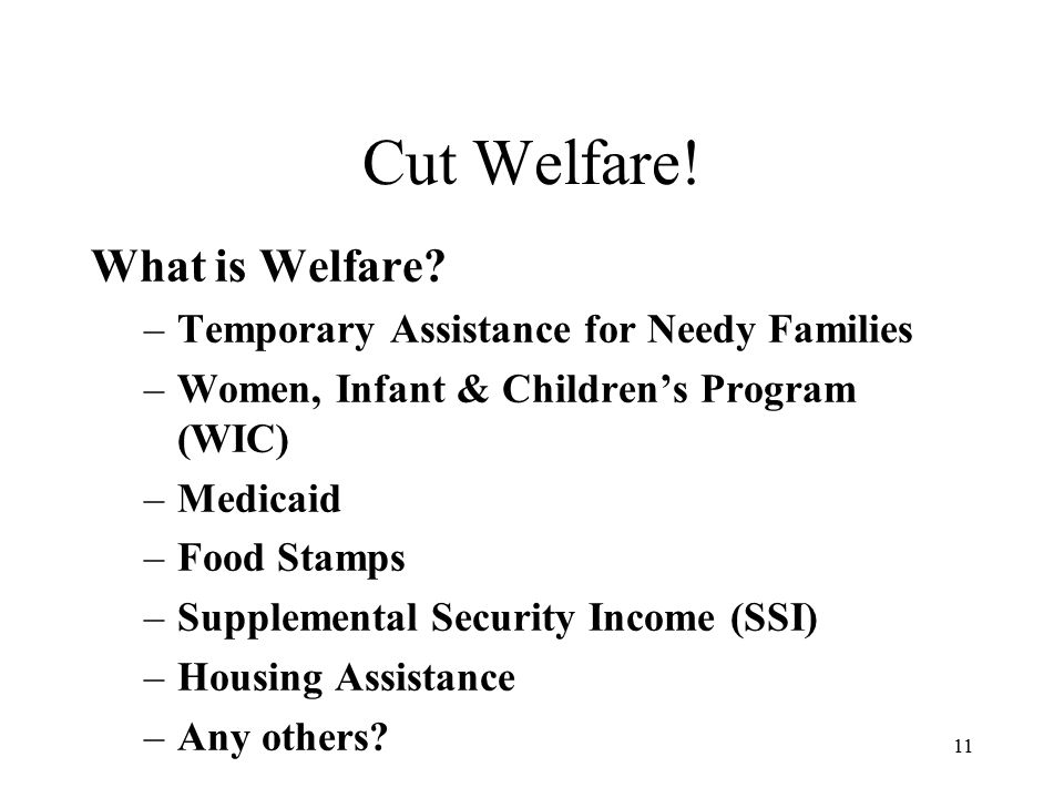 11 Cut Welfare. What is Welfare.