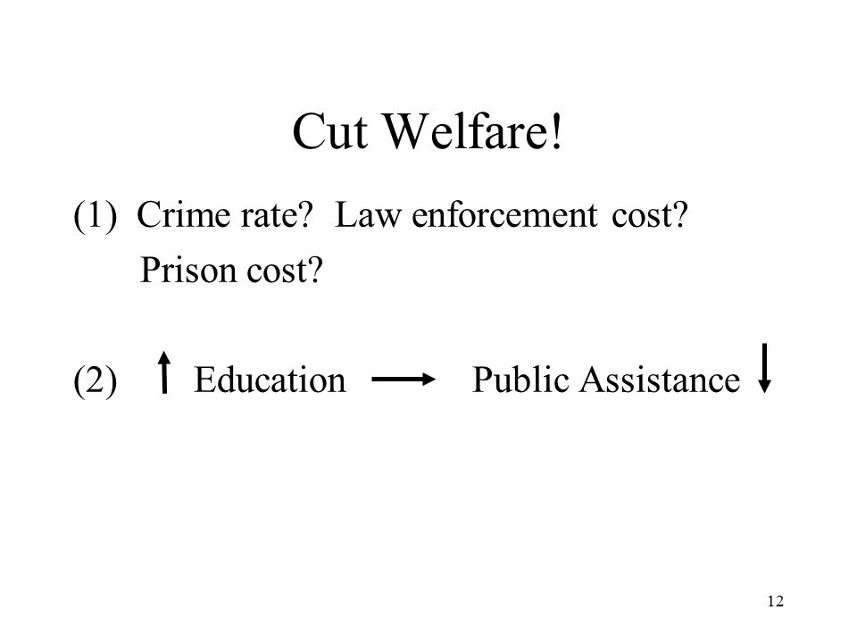 12 Cut Welfare! (1) Crime rate Law enforcement cost Prison cost (2) Education Public Assistance