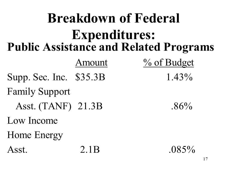 17 Breakdown of Federal Expenditures: Public Assistance and Related Programs Amount% of Budget Supp.