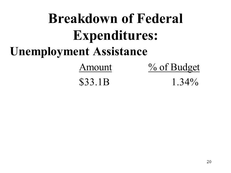 20 Breakdown of Federal Expenditures: Unemployment Assistance Amount% of Budget $33.1B1.34%