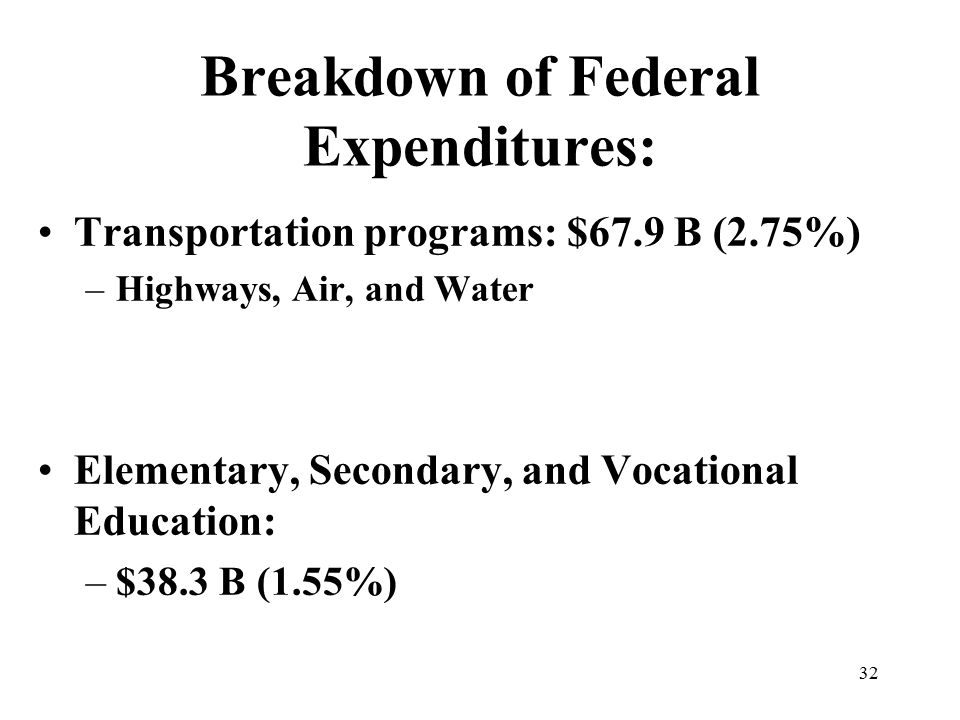 32 Breakdown of Federal Expenditures: Transportation programs: $67.9 B (2.75%) –Highways, Air, and Water Elementary, Secondary, and Vocational Education: –$38.3 B (1.55%)