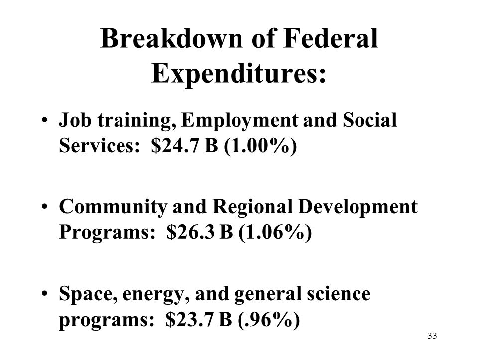 33 Breakdown of Federal Expenditures: Job training, Employment and Social Services: $24.7 B (1.00%) Community and Regional Development Programs: $26.3 B (1.06%) Space, energy, and general science programs: $23.7 B (.96%)