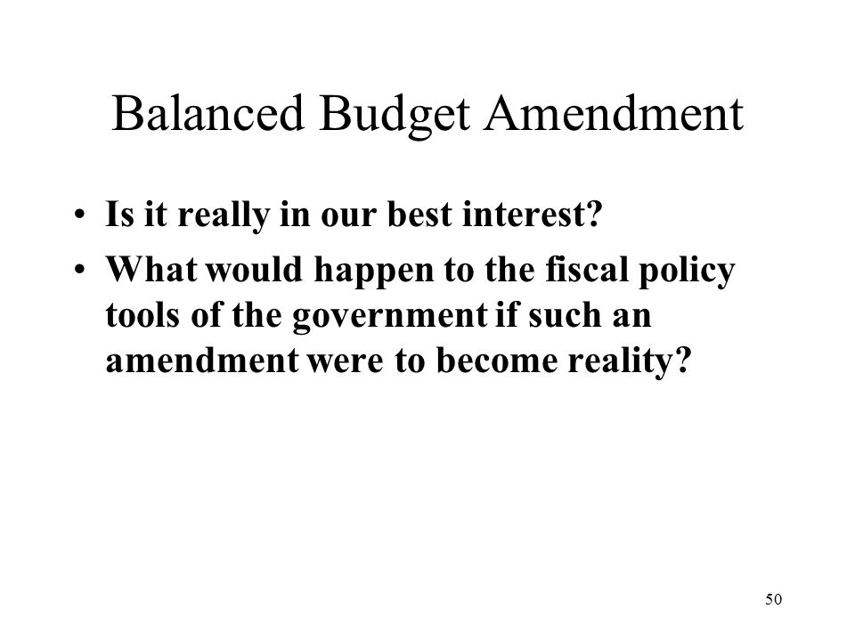 50 Balanced Budget Amendment Is it really in our best interest.