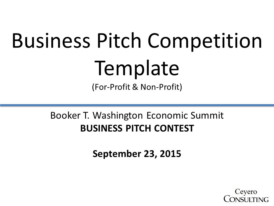Business pitch competition template for profit non profit booker 1 business pitch competition template wajeb Gallery
