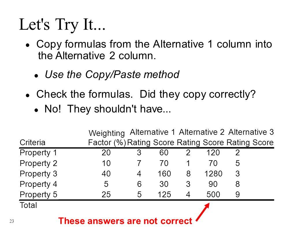 Workbooks copy formulas between workbooks : Engineering Fundamentals Decision Matrix Spreadsheet Tutorial ppt ...