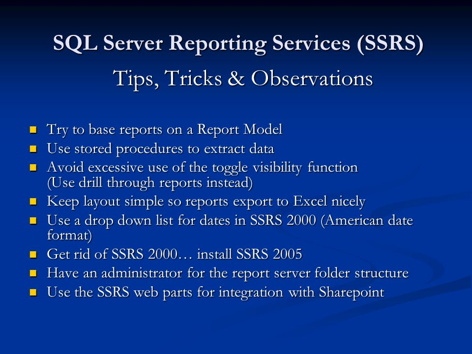 HDNUG 27-March-2007 SQL Server 2005 Suite as a Business Intelligence