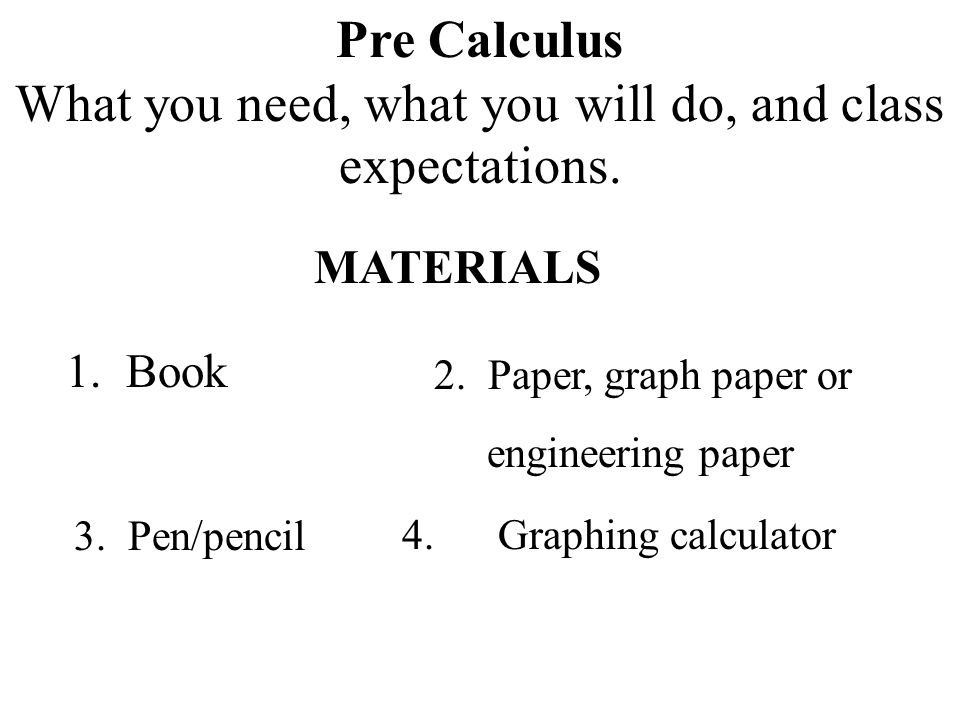 Pre Calculus What you need, what you will do, and class expectations.