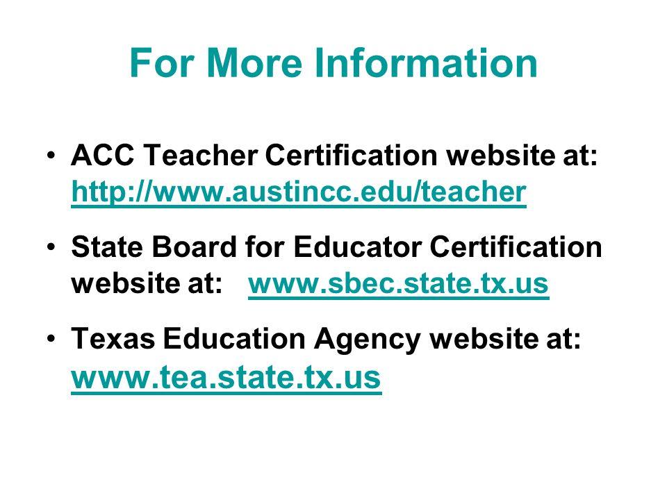 Austin Community College Teacher Certification Program Its All