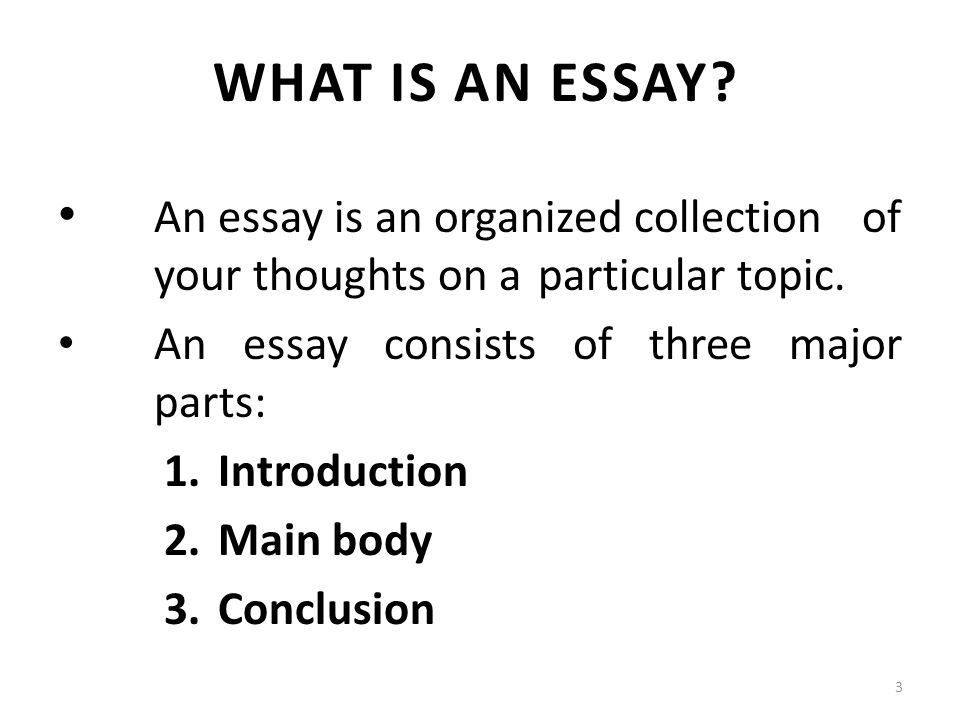 Mountains Beyond Mountains Essay An Essay Is An Organized Collection Of Your Thoughts On A Particular Topic Change Management Essays also Essay On My Ambition Types Of Essays Lecture  Recap I What Is An Outline A Sentence  Descriptive Essay Topics For College