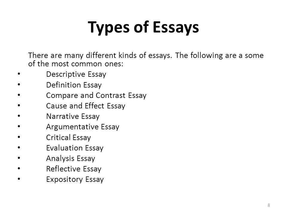 types essay papers A guide to the types of essays almost everyone will have to write at least one essay at some point in their lives a well-executed essay can get you into college, help you gain funding or approval for important projects, or inspire your readers.