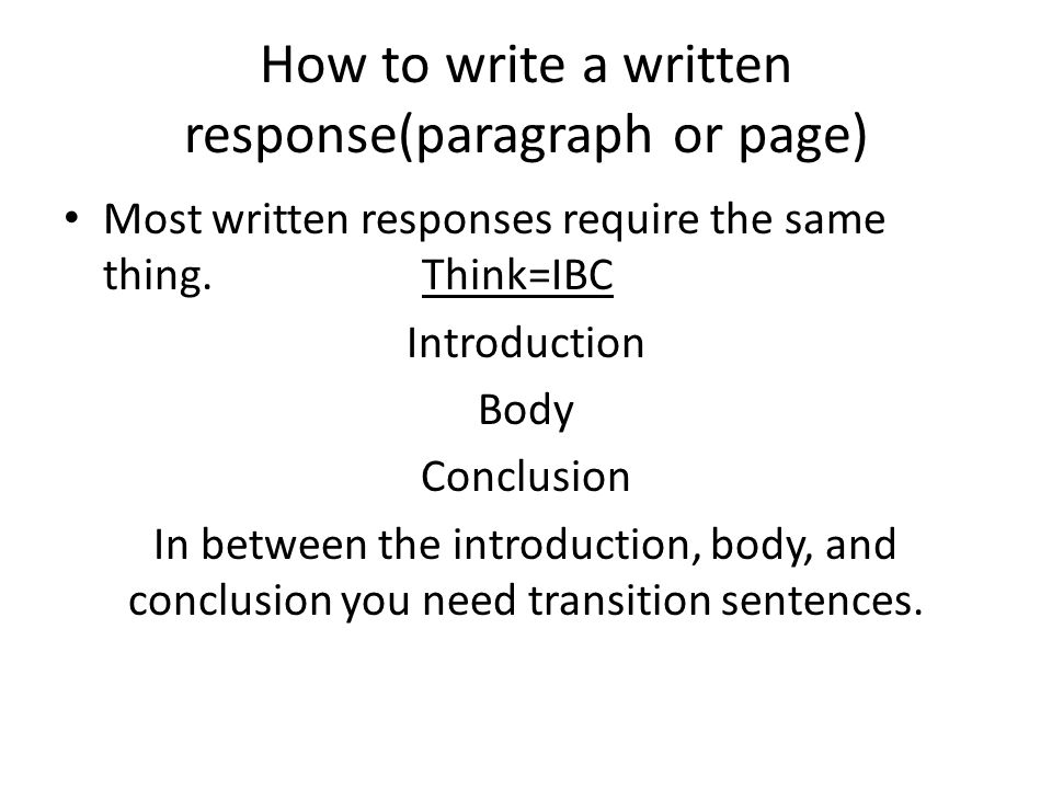 how to write response paragraph