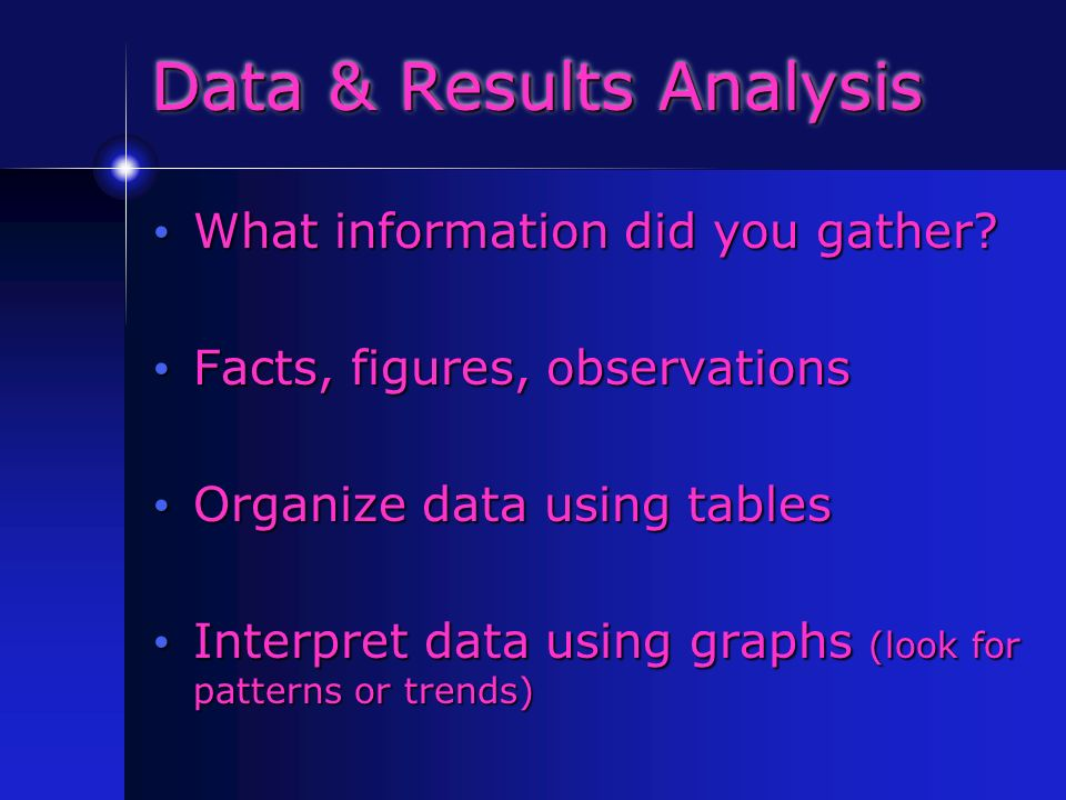 Data & Results Analysis What information did you gather.