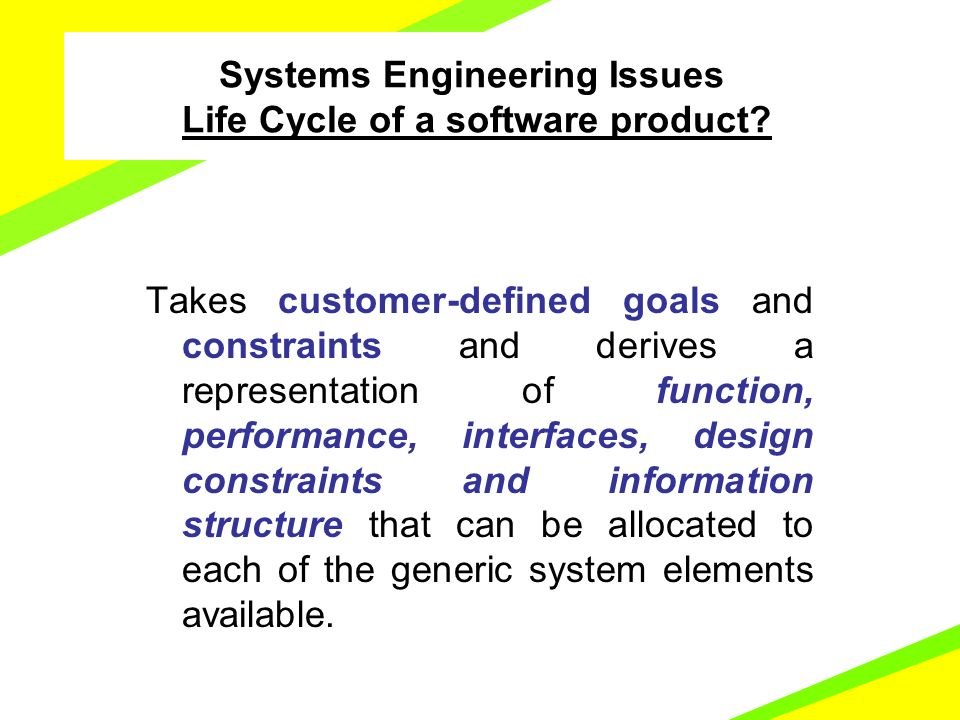 Software Engineering Introduction And Overview Takes Customer Defined Goals And Constraints And Derives A Representation Of Function Performance Interfaces Ppt Download