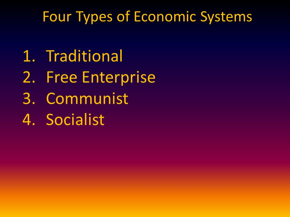 Four Types of Economic Systems 1.Traditional 2.Free Enterprise 3.Communist 4.Socialist
