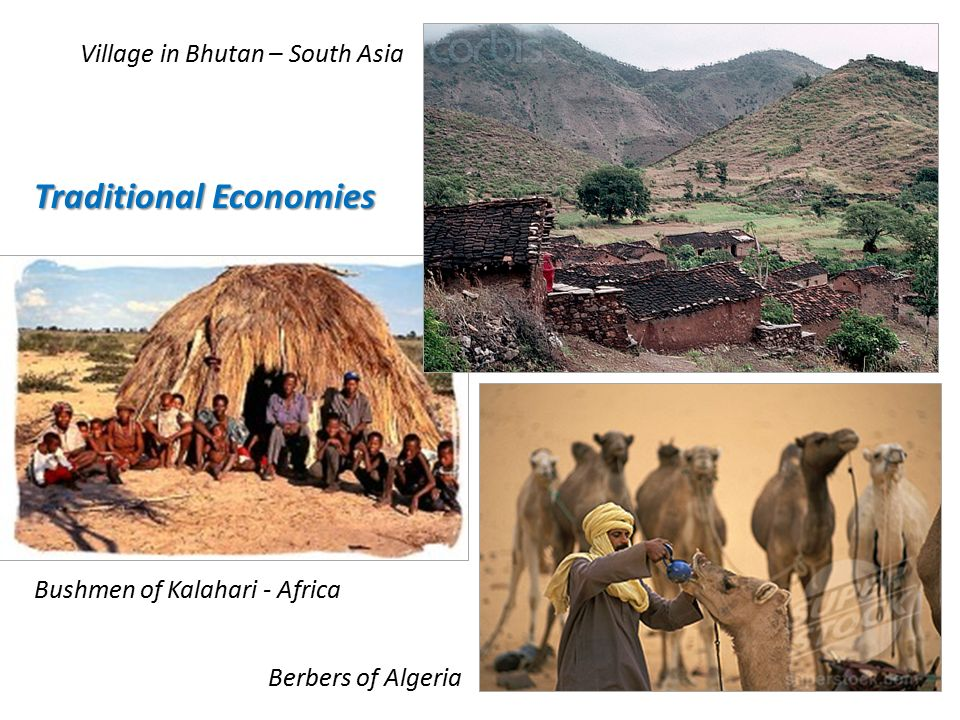 Bushmen of Kalahari - Africa Berbers of Algeria Village in Bhutan – South Asia Traditional Economies