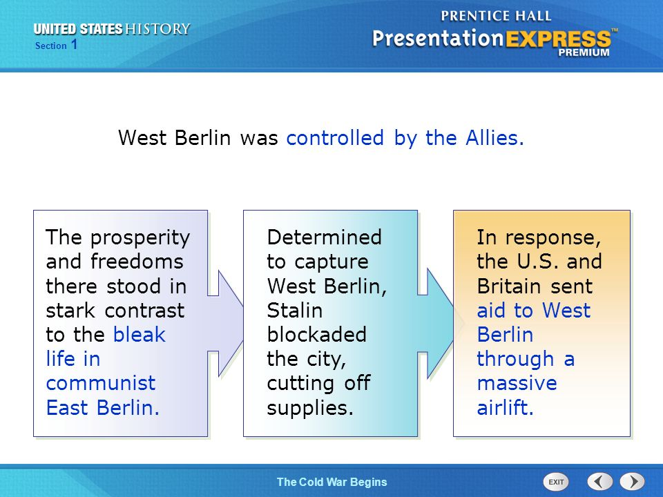 The Cold War Begins Section 1 West Berlin was controlled by the Allies.
