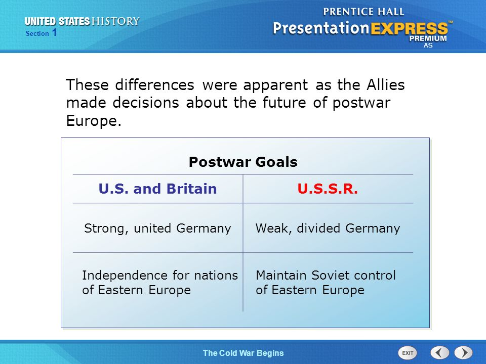 The Cold War Begins Section 1 AS These differences were apparent as the Allies made decisions about the future of postwar Europe.