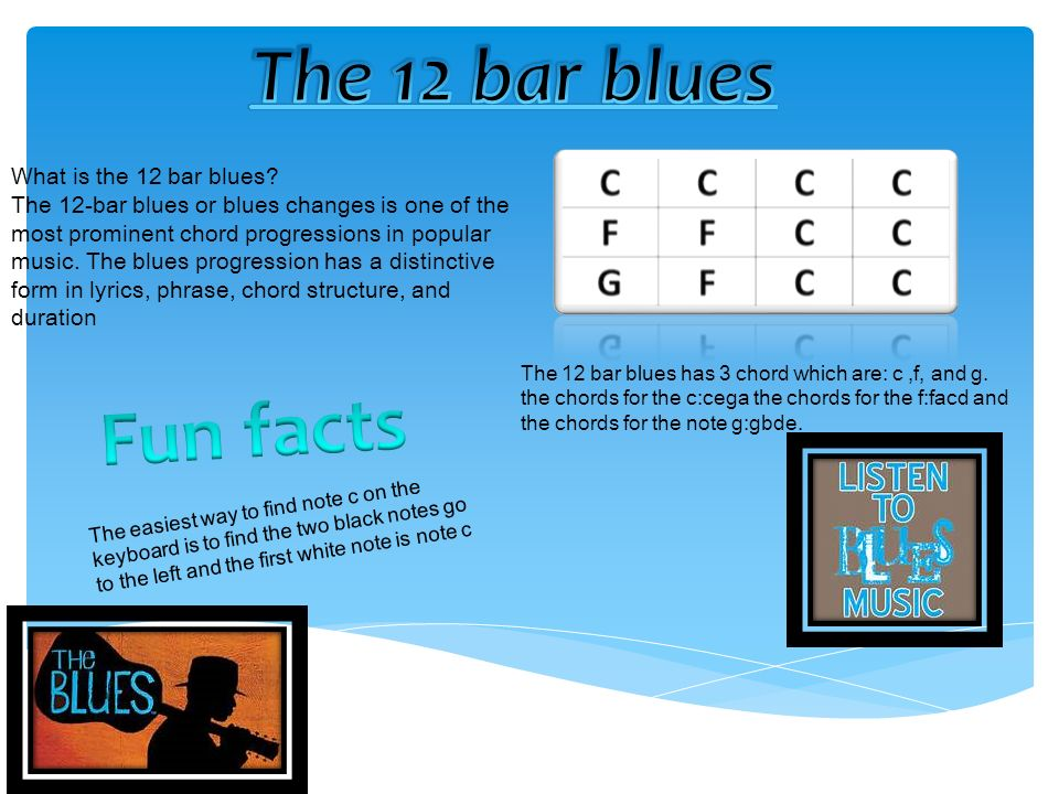 What is the 12 bar blues? The 12-bar blues or blues changes