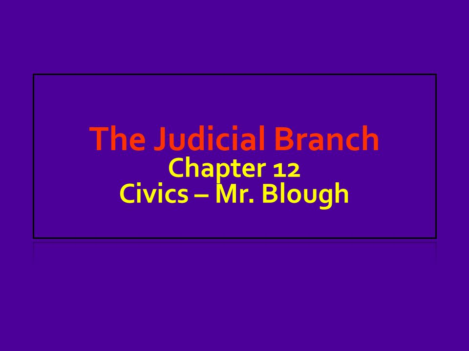 The Judicial Branch Chapter 12 Civics – Mr. Blough