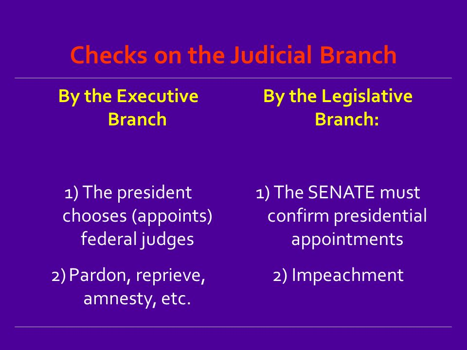 Checks on the Judicial Branch By the Executive Branch 1)The president chooses (appoints) federal judges 2)Pardon, reprieve, amnesty, etc.