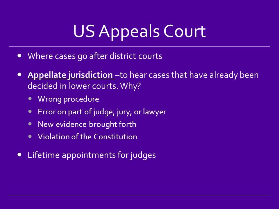 US Appeals Court Where cases go after district courts Appellate jurisdiction –to hear cases that have already been decided in lower courts.