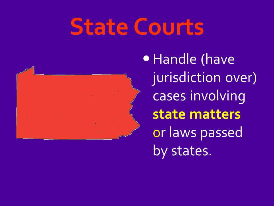 State Courts Handle (have jurisdiction over) cases involving state matters or laws passed by states.