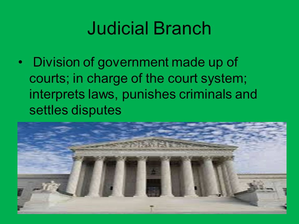 Executive Branch Division of government that includes the president and administrators; enforces laws.
