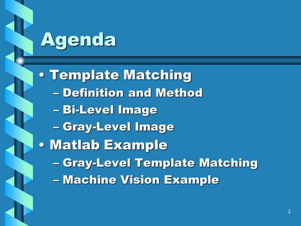 1 template matching longin jan latecki temple university cis 601 2 2 agenda template matchingtemplate matching definition and method bi level image gray level image matlab examplematlab example gray level template maxwellsz