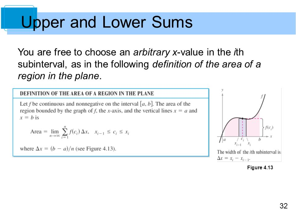 32 Upper and Lower Sums You are free to choose an arbitrary x-value in the ith subinterval, as in the following definition of the area of a region in the plane.